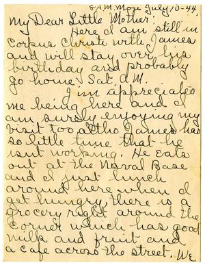 Primary view of object titled '[Letter by Edith Wilson Sutherlin to her mother - 07/10/1944]'.