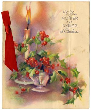 Primary view of object titled '[Christmas Card to Edith and Edgar Sutherlin - 1943-1946]'.
