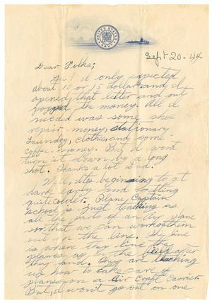 Primary view of object titled '[Letter by James Sutherlin to his parents - 09/20/1944]'.