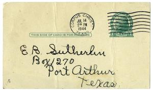 Primary view of object titled '[Postcard from Edith Wilson Sutherlin to her husband - 01/20/1944]'.