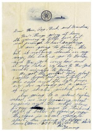Primary view of object titled '[Letter by James Sutherlin to his parents - 1943 - 1946]'.