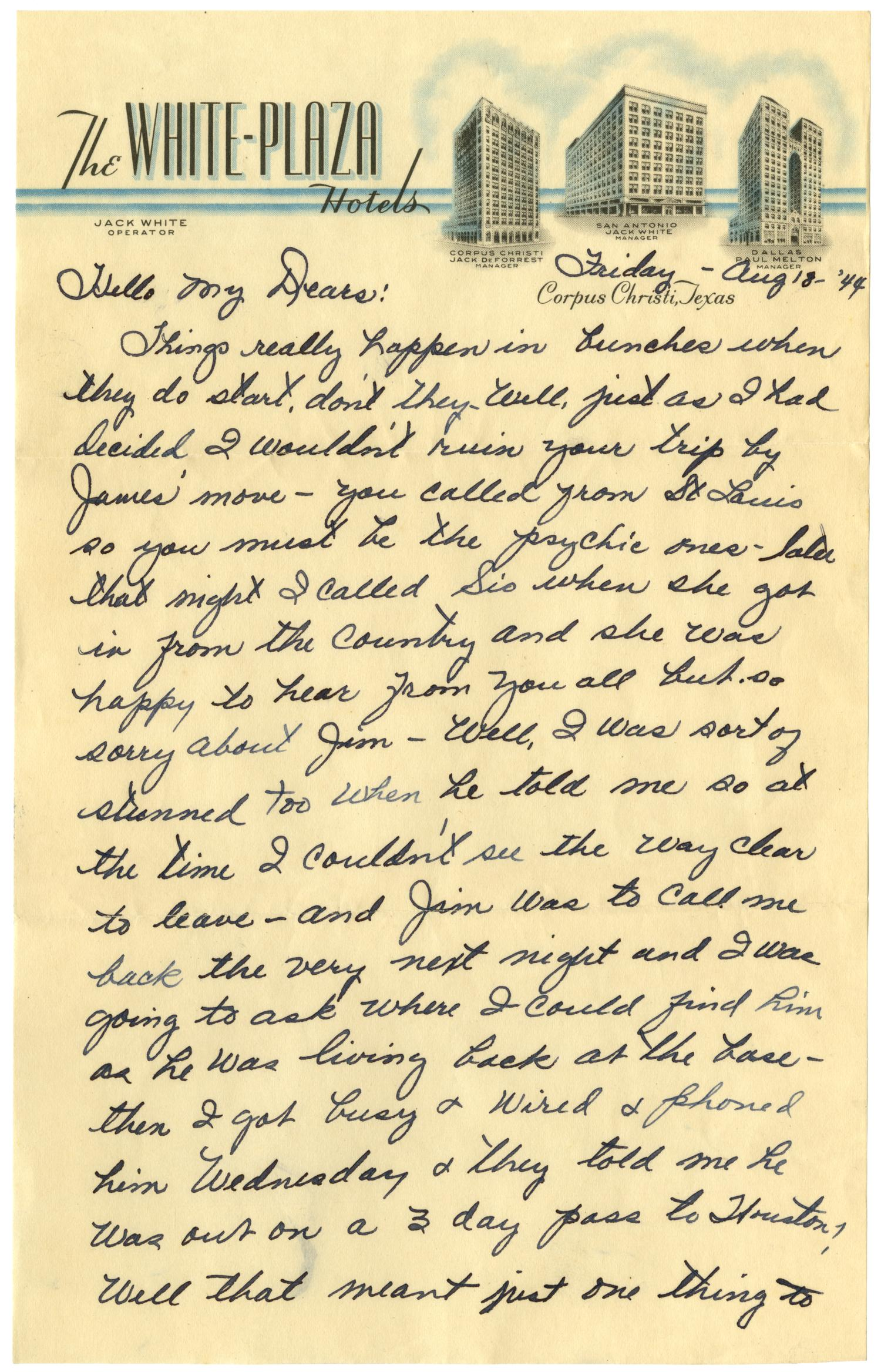 [Letter by Waneta Sutherlin Bowman to her family - 08/18/1944]                                                                                                      [Sequence #]: 1 of 8