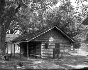 Primary view of object titled '[Replica-Sam Houston's Office, (Northwest oblique)]'.