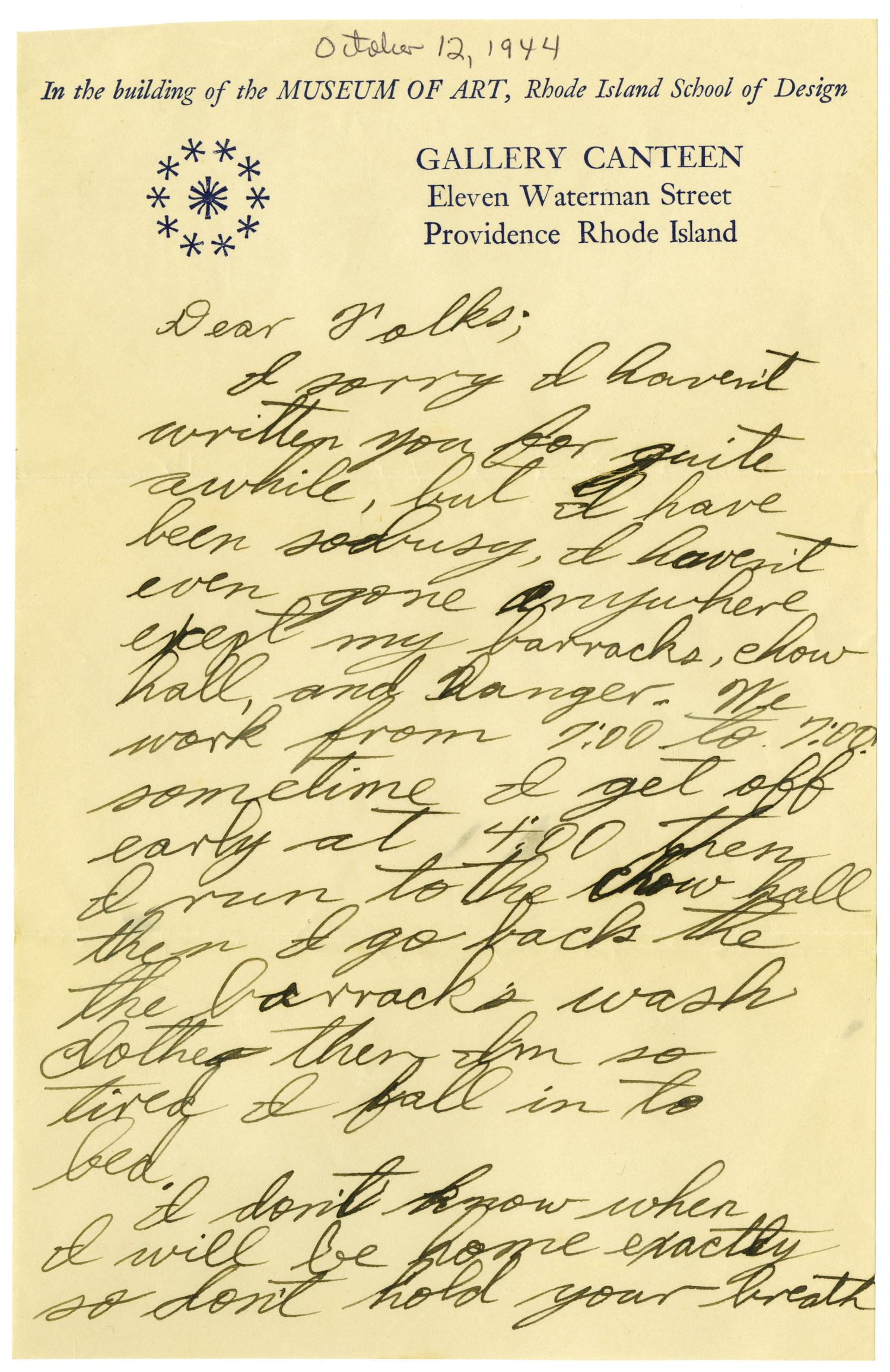 [Letter by James Sutherlin to his parents - 10/12/1944]                                                                                                      [Sequence #]: 1 of 4