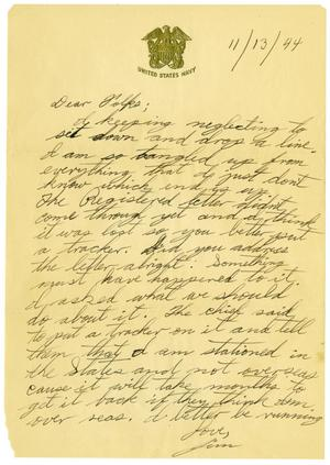 Primary view of object titled '[Letter by James Sutherlin to his parents - 11/13/1944]'.