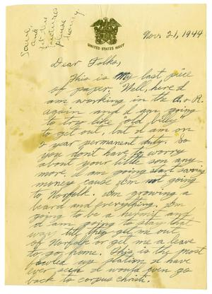 Primary view of object titled '[Letter by James Sutherlin to his parents - 11/21/1944]'.