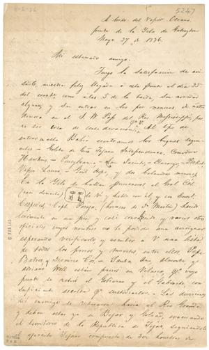 Primary view of object titled '[Letter from unknown person to Mexia, May 27, 1836]'.