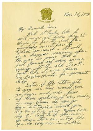 Primary view of object titled '[Letter by James Sutherlin to his parents - 11/20/1944]'.