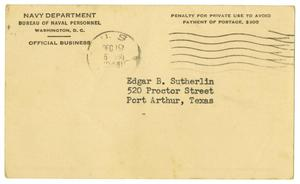 Primary view of object titled '[Notice of Change of Address Card - James Edgar Sutherlin]'.