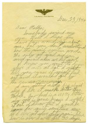 Primary view of object titled '[Letter by James Sutherlin to his parents - 12/11/1944]'.