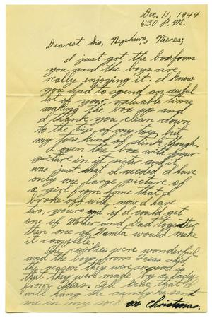 Primary view of object titled '[Letter by James Sutherlin to his sister - 12/11/1944]'.