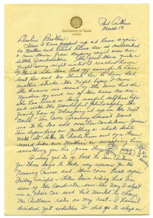 Primary view of object titled '[Letter by Waneta Sutherlin Bowman to James E. Sutherlin - March 19, 1945]'.