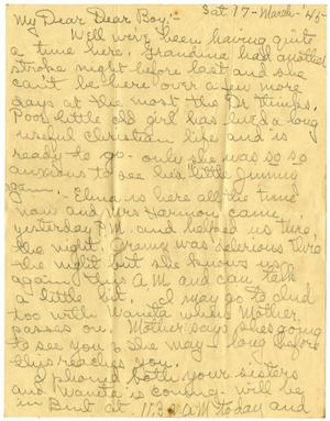 Primary view of object titled '[Letter by Edith Wilson Sutherlin to James E. Sutherlin - 03/17/1945]'.