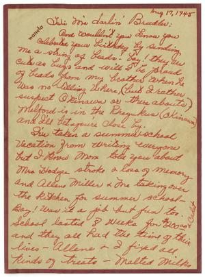 Primary view of object titled '[Letter by Waneta Sutherlin Bowman to James E. Sutherlin - 08/17/1945]'.