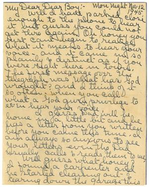 Primary view of object titled '[Letter by Edith Wilson Sutherlin to James E. Sutherlin - 11/12/1945]'.