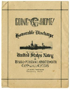 Primary view of object titled '[Honorable Discharge Ceremony Pamphlet for US Naval Personnel Held at Camp Wallace, Texas]'.