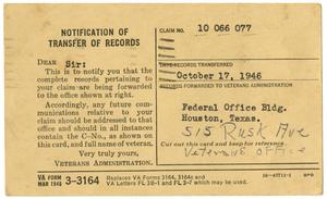Primary view of object titled '[Notification of Transfer Records for James E. Sutherlin]'.