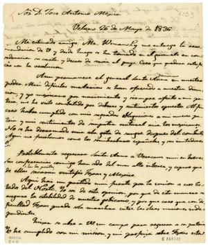 Primary view of object titled '[Copy of letter from Zavala to Mexia, May 26, 1836]'.