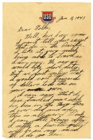 Primary view of object titled '[Letter by James Sutherlin to his parents - 01/11/1945]'.