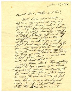 Primary view of object titled '[Letter by James Sutherlin to his family - 01/31/1945]'.