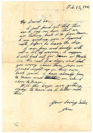 Primary view of object titled '[Letter by James Sutherlin to his sister - 02/13/1945]'.
