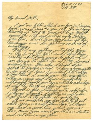 Primary view of object titled '[Letter by James Sutherlin to his family -02/11/1946]'.