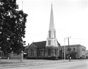 Primary view of object titled '[First Presbyterian Church, (Oblique)]'.