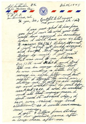 Primary view of object titled '[Letter by James Sutherlin to his sister - 02/15/1945]'.