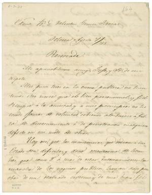 Primary view of object titled '[Letter from Mariano Arizcorreta to Valentin Gomez Farias, August 6, 1833]'.