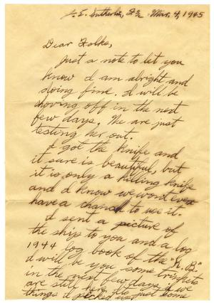 Primary view of object titled '[Letter by James E. Sutherlin to his parents - 03/04/1945]'.