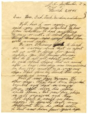 Primary view of object titled '[Letter by James E. Sutherlin to his family - 03/08/1945]'.