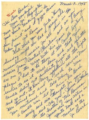 Primary view of object titled '[Letter by Waneta Sutherlin to James Sutherlin - March 8, 1945]'.