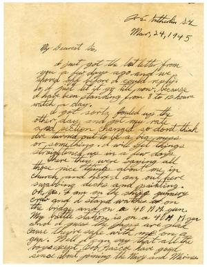 Primary view of object titled '[Letter by James Sutherlin to Waneta Sutherlin Bowman - 03/24/1945]'.
