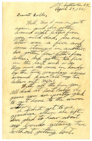 Primary view of object titled '[Letter by James Sutherlin to his parents - 04/29/1945]'.