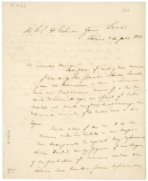 Primary view of object titled '[Letter from Lorenzo de Zavala to Valentin Gomez Farias, July 7, 1833]'.