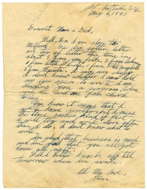 Primary view of object titled '[Letter by James Sutherlin to his parents - 05/06/1945]'.