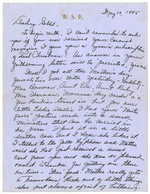 Primary view of object titled '[Letter by Waneta Sutherlin Bowman to James E. Sutherlin - 05/10/1945]'.