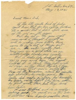 Primary view of object titled '[Letter by James E. Sutherlin to his parents - 05/19/1945]'.