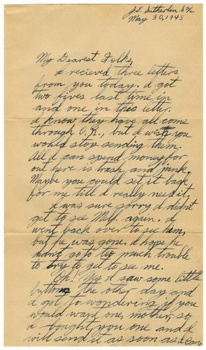 Primary view of object titled '[Letter by James Sutherlin to his parents - 05/30/1945]'.