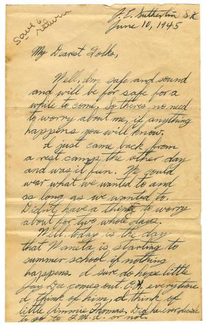 Primary view of object titled '[Letter by James E. Sutherlin to his parents - 06/10/1945]'.