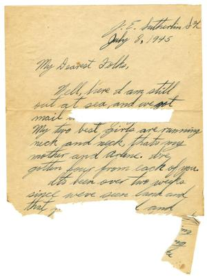 Primary view of object titled '[Letter by James E. Sutherlin to his parents - 07/08/1945]'.