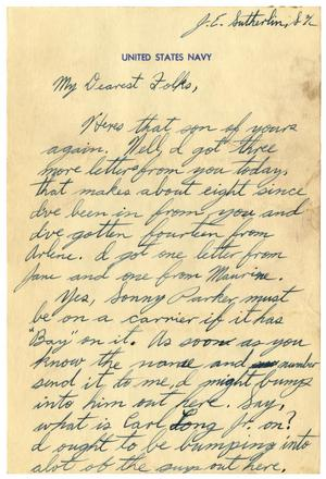 Primary view of object titled '[Letter by James E. Sutherlin to his parents - 1943-1946]'.
