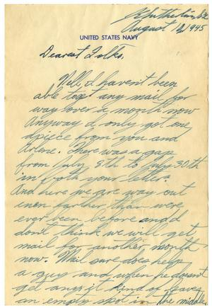 Primary view of object titled '[Letter by James E. Sutherlin to his parents - 08/10/1945]'.