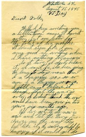 Primary view of object titled '[Letter by James E. Sutherlin to his parents - 08/15/1945]'.