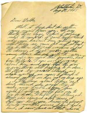 Primary view of object titled '[Letter by James E. Sutherlin to his parents - 08/20/1945]'.
