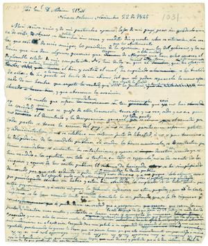 Primary view of [Draft of letter from Valentin Gomez Farias to General Adrian Woll, Noveber 22, 1844]