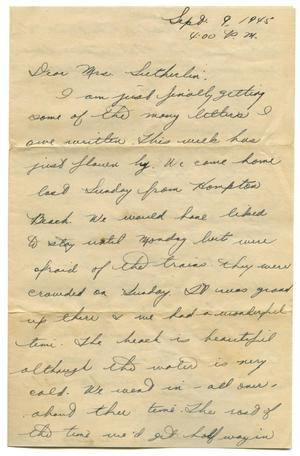 [Letter by Arlene Goodwin to Edith Wilson Sutherlin - 09/09/1945]