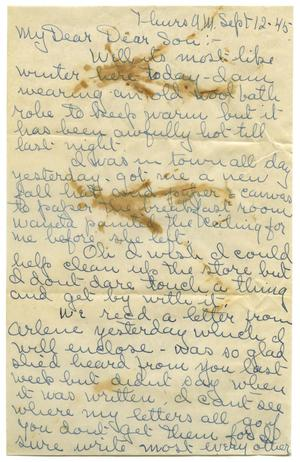 Primary view of object titled '[Letter by Edith Wilson Sutherlin to James E. Sutherlin 09/12/1945]'.
