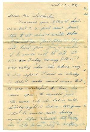 Primary view of object titled '[Letter by Arlene Sutherlin to Edith Wilson Sutherlin - 10/17/1945]'.