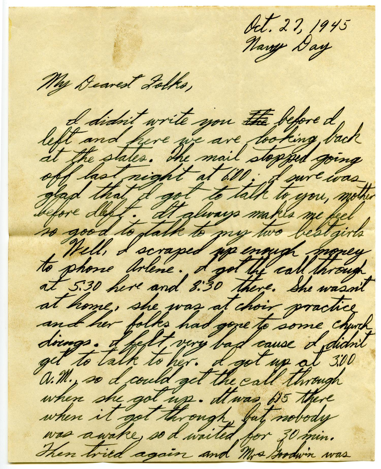 [Letter by James E. Sutherlin to his parents - 10/27/1945]                                                                                                      [Sequence #]: 1 of 10